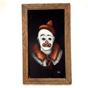 Vintage Mexican sad clown painting airbrush velvet